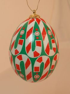 Candy Cane Sweet Red white and green pysanka by HankyPysanky