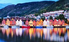 Colorful city of Bergen in Norway at night. Bergen is a perfect. Noisy Le Sec, Noisy Le Grand, Cruise Travel, Cruise Vacation, Oslo, Voyage Usa, Voyager Seul, Norwegian Air, Lillehammer