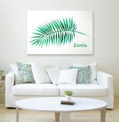 Biały obraz na ścianę z liściem palmy - bo w minimalistycznym stylu skandynawskim odpowiednie dekoracje ścienne to podstawa!