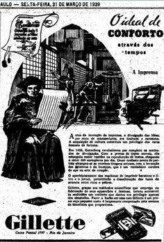 Propaganda da Gillette em 1939 que compara a revolução da imprensa com as…