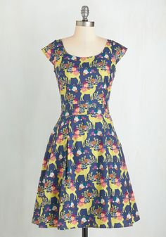 Prancing in the Reindeer Dress. Come rain or shine, you skip along cheerfully in this whimsical dress! #multi #modcloth