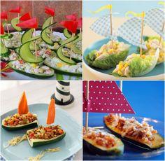 idées repas santé amusant pour anniversaire: voiliers de légumes