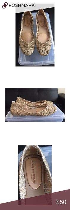 Melissa Campana gold flats Melissa Campana gold flats. Worn once. Melissa shoes only carry whole sizes. I am usually a 7.5 and this shoe is a size 8 and it fit perfectly on me. Melissa Shoes Flats & Loafers