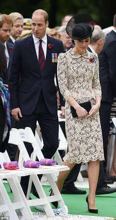 The Duke and Duchess of Cambridge and Prince Harry (left) take their seats during the Commemoration of the Centenary of the Battle of the Somme at the Commonwealth War Graves Commission Thiepval Memorial in Thiepval, France, where 70,000 British and Commonwealth soldiers with no known grave are commemorated