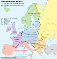 Map that divides europe into western, southern, central, etc. Good to know