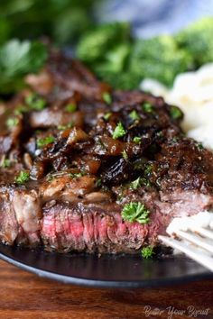 Pan Seared Garlic Rib eye Steak - Butter Your Biscuit Rib eye steaks are perfectly cooked full of flavor and melt in your mouth tender. Restaurant quality steak you can make at home. Grilled Steak Recipes, Meat Recipes, Asian Recipes, Gourmet Recipes, Cooking Recipes, Chuck Steak Recipes, Sirloin Recipes, Gourmet Meals, Recipies