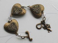 3 Hearts Cupid Angel Bracelet