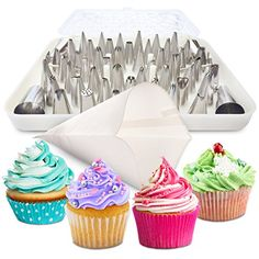 BakeLux Cake Decorating Tips Set  56 Piece Professional Kit With 18Inch Reusable Cotton Pastry Bag For Icing Piping 2 Flower Nails Coupler Storage Box Duyas Reposteria Baking Tools Supplies -- You can find out more details at the link of the image.(This is an Amazon affiliate link and I receive a commission for the sales)