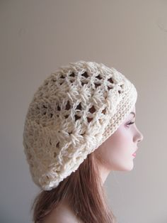 Slouchy Spring Beret Beanie Womens Mesh Lace Crochet Slouchy Hats Oversized Beret Slouch.