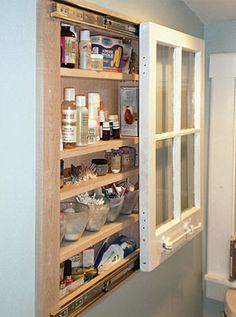 Recycled Window Cabinet but what would this look like done as a mirror (that spray paint that makes glass a mirror) and then hung this same way. - Fine Homebuilding Article - A Interior Design Repurposed Furniture, Diy Furniture, Repurposed Shutters, Furniture Cleaning, Painted Furniture, Furniture Design, Recycled Door, Diy Casa, Old Windows