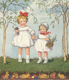 "Vintage illustration of ""two little sisters"". The Illustration has Easter Bunny trim. Vintage Greeting Cards, Vintage Postcards, Vintage Pictures, Vintage Images, Easter Celebration, Beltane, Vintage Children, Illustrators, Easter Card"