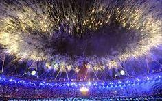 Olimpíadas. Abertura oficial Jogos Olímpicos Rio 2016 - Fogos de Artifício.