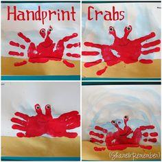 Handprint Crabs. Reflection Symmetry. ... and so cute!!! ... http://www.thingstoshareandremember.com/handprint-crabs-ocean/