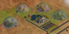 Domes as neighborhood deco Sims 2 Games, The Sims 4 Lots, Sims Four, Futuristic City, I Am Game, The Neighbourhood, Painting, Plum, Aliens