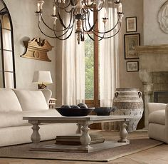 17th C. Monastery Coffee Table in Grey $695 for small size Restoration Hardware….grey wash….great room.