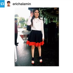 #Repost @erichalamin with @repostapp.・・・Singer @nindyparasadyharsono was seen leaving Gran Melia Hotel in a white blouse paired with a color-block skirt from @iroo_indonesia. Styled by me. Make-up by @andreblake_