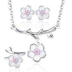 925 Sterling Silver Daisy/SAKURA/Snowflake Flower Crystal Pendant Necklace Earring Bracelets Ring Set for Women