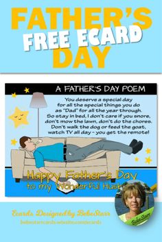 A Father's Day poem for your husband. Send a humorous ecard on his special day. They are free to send and fun to receive. | Ecard | Father's Day | From Wife | bebestarrcards.wixsite.com/ecards Fathers Day Ecards, Fathers Day Poems, Fathers Day Presents, Fathers Day Crafts, Presents For Dad, Happy Fathers Day, Gifts For Expecting Dads, Gifts For New Dads, Diy Gifts For Kids