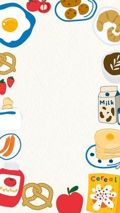 Iphone Wallpaper Video, Food Wallpaper, Kawaii Wallpaper, Cute Wallpaper Backgrounds, Cute Cartoon Wallpapers, Food Doodles, Cute Frames, Cute Notes, Collage Template