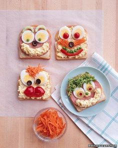 Open Face Sandwiches Recipe - I'm not a fan of egg salad, but I do LOVE these sandwiches! Cute Food, Good Food, Yummy Food, Toddler Meals, Kids Meals, Egg Salad Sandwiches, Healthy Snacks, Healthy Recipes, Snacks Für Party