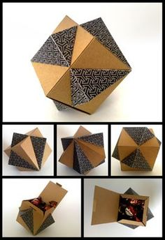 Intersecting Cube Gift Box Free Paper Craft Download