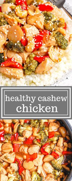 Healthy cashew chicken stir fry is the best clean eating Chinese food takeout recipe that you'll ever have! It's easy to make and is packed with healthy ingredients like peppers, cashews, and served over cauliflower rice! #healthytakeout #healthychicken #chickendinner #chickenrecipe #healthychinese #cashewchicken