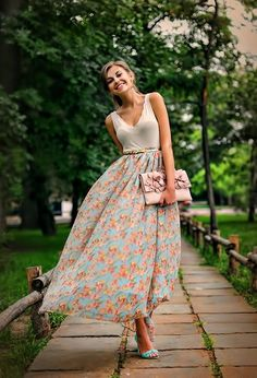 Floral maxi skirt with blue neon shoes