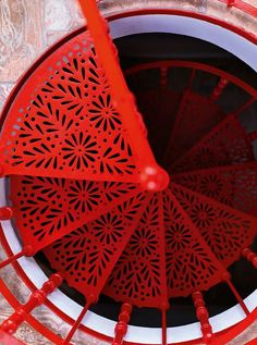 Red stairs Staircase Design, Architecture Details, Round Stairs, Spiral Staircases, Red Interior Design, Stairs To Heaven, Top View, Take The Stairs, Beautiful Stairs