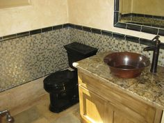Native Trails Bajo hand hammered copper sink in Cabana @ The Manor, Milton, GA mediterranean bathroom, by Vesta Homes, Inc.