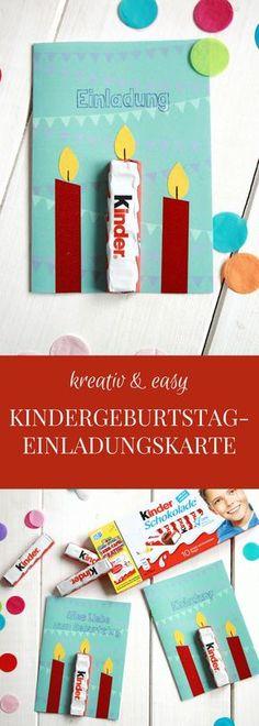 Kindergeburtstag Einladungskarte Idee: Diese kreative Einladungskarte basteln kann man dank Geburtstagskarten Freebie ganz leicht. Hier findet man sowohl eine Einladungskarte zum Kindergeburtstag als auch eine Geburtstagskarte Vorlage. Durch die Kinderschokolade als Kerze hat die Kindergeburtstag Einladung den besonderen Kniff und kommt bei allen Kindern gut an. - Werbung