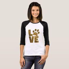 Love Paw Print Raglan Shirt - glitter glamour brilliance sparkle design idea diy elegant
