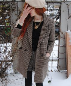 Cosette Munch. Long wool checkered blazer, vintage top, tweed shorts, black tights and cream beret.