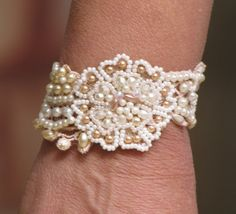 Beaded Cuff Vintage Lace Hand Embroidered Pearls by carellya, $95.00