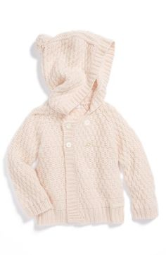 Burberry Layette Hooded Cashmere Sweater (Baby Girls) available at #Nordstrom