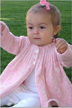 Knit baby cardigan sweater, love the classic elegance, the ribbing on the yoke could almost be mistaken for smocking