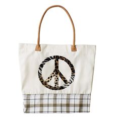 African Animal Pattern Peace Symbol Zazzle HEART Tote Bag.  Artwork designed by FoxxyTees.