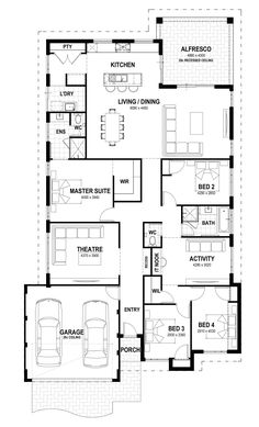 The Orchard - Lot 51 Jennapullin Crescent floorplan Theatre convert into WIC and activity corner into tv corner Dream House Plans, Modern House Plans, House Floor Plans, The Plan, How To Plan, Summit Homes, Home Design Floor Plans, House Blueprints, Display Homes