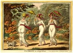 """James Gillray """"The Graces in a High Wind"""" - A Scene Taken From Nature, in Kensington Gardens . 26 May 1810  Hand-coloured etching and aquatint"""