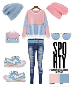 """Sporty:  Pantone Beauty: Rose Quartz and Serenity"" by im-karla-with-a-k on Polyvore featuring La Cartella, Irregular Choice, Boohoo, Illesteva, Tomas Maier and Phase 3"