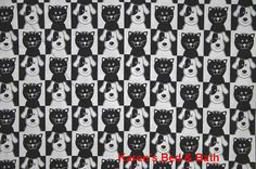 Cat & Dog Fabric with Cats and Dogs By the Yard, Quarter Yard, Fat Quarter Black and White Fabric Cotton Quilting Fabric t3-31 by karensbedandbath on Etsy https://www.etsy.com/listing/260705432/cat-dog-fabric-with-cats-and-dogs-by-the