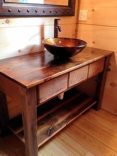 "Bathroom Vanity Measures 35"" high x 21"" deep  Made from reclaimed pine. With 2 drawers. Comes with Soft close Drawers. Finished in an Lacquer.  Sink and drawer"