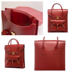 Red medium size tote bag practical for daily use in side the Pelham bag is spacious with a medium size pocket with the Tomas Brilliance logo embossed at the centre of the pocket  #bag #handbag #tote #red