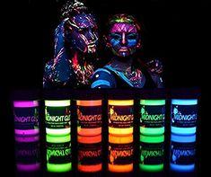 Midnight Glo UV Body Paint Black Light Paint Black Light Makeup Bodypainting Neon Body Paint UV Blacklight Glow Face Paint Neon Fluorescent for Black Light Party, Glow Party, Neon Party Beauty. Glow Face Paint, Body Paint, Black Light Makeup, Tinta Neon, Glow Bottle, Bolo Neon, Fluorescent Paint, Uv Tattoo, Glow Tattoo