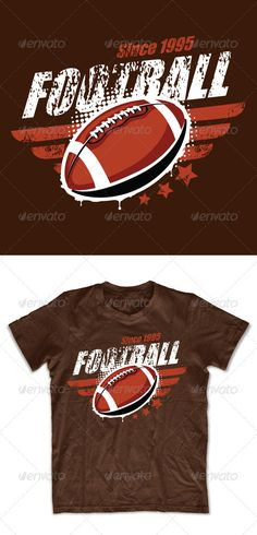Buy Grunge football T-shirt design by seniors-templates on GraphicRiver. Grunge football T-shirt design. All text is easy editable. Impact font was used (safe font for P. T Shirt Designs, Football Tshirt Designs, Classic Football Shirts, Design Logo, Football Design, Shirt Print Design, Team T-shirts, Juniors Graphic Tees, Mustang T Shirts