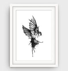 Modern Bird Print Black and White Bird Drawing by GalliniDesign