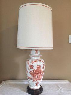 Vintage Fredrick Cooper Hand Painted Ginger Jar Lamp Hollywood Regency