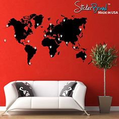 World Map of Earth Wall Decal Sticker by Stickerbrand 12in X 24in. Easy to Apply & Removable. Made in the USA. You get to pick your color options. #131-12x24