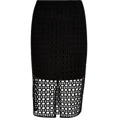 Zwarte kokerrok met kant - midi-rokken - rokken - dames