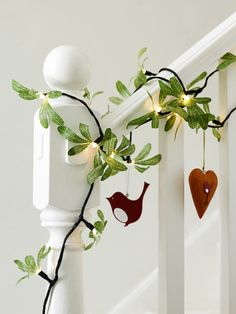 Valentine's Day * Garland with mini lights and Valentine's Day ornaments