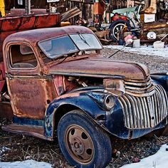 Doin the Dump Truck Dump - photograph by Lee Craig  via @leeseesart #OldTrucks #RusticDecor #DecoratingIdeas